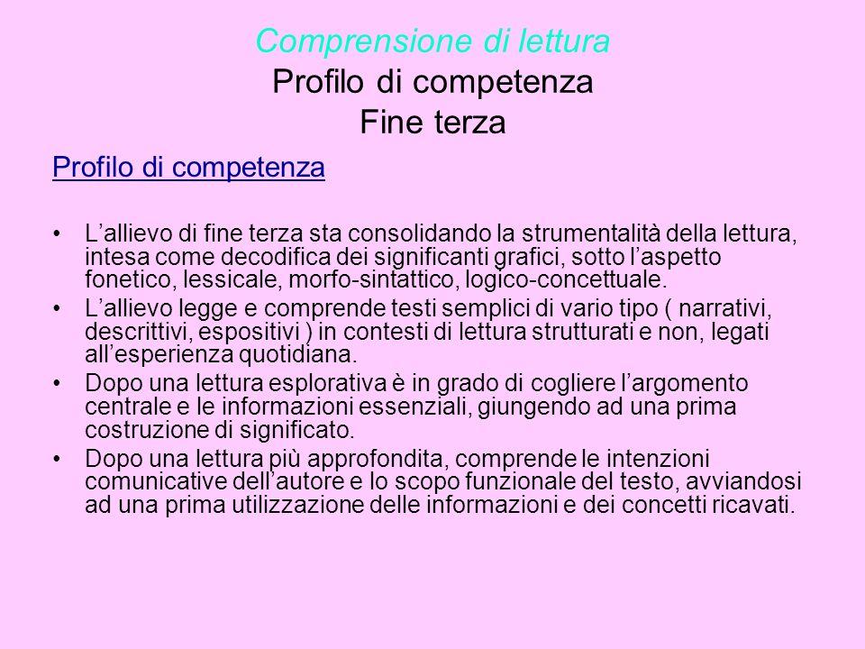 Comprensione di lettura Profilo di competenza Fine terza Profilo di competenza Lallievo di fine terza sta consolidando la strumentalità della lettura,