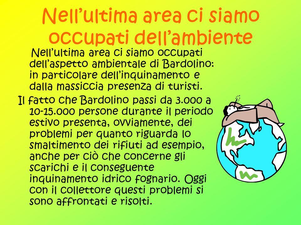 Nellultima area ci siamo occupati dellambiente Nellultima area ci siamo occupati dellaspetto ambientale di Bardolino: in particolare dellinquinamento e dalla massiccia presenza di turisti.