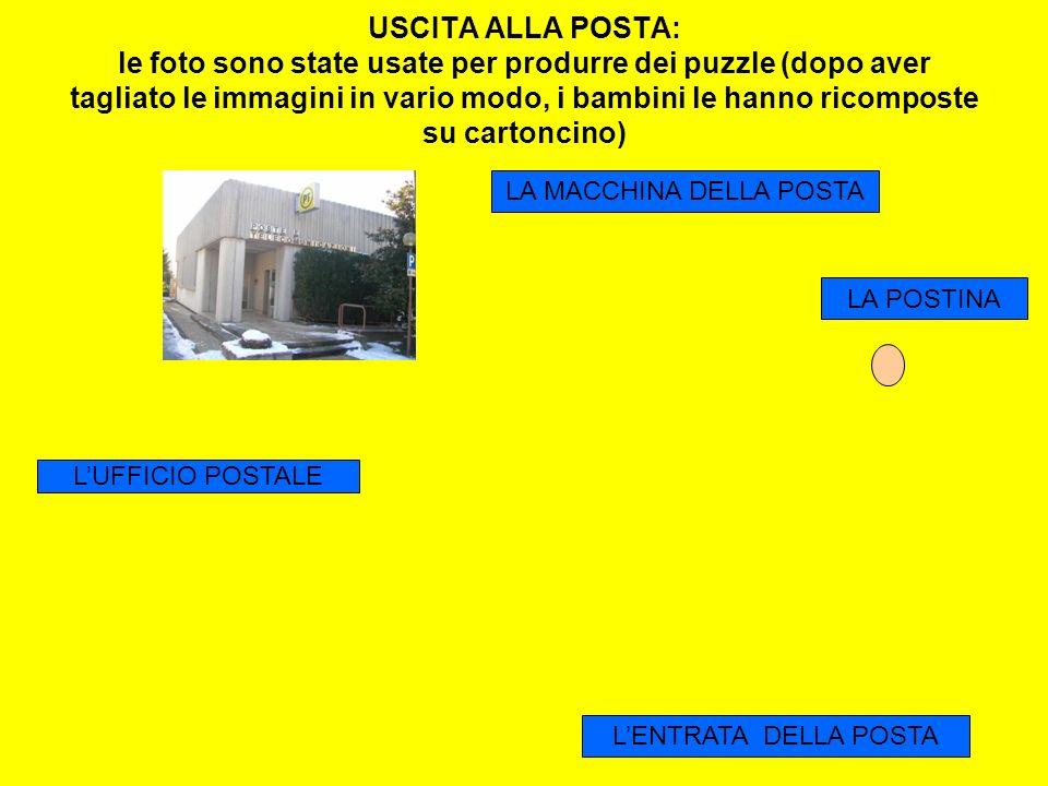 USCITA ALLA POSTA: le foto sono state usate per produrre dei puzzle (dopo aver tagliato le immagini in vario modo, i bambini le hanno ricomposte su ca