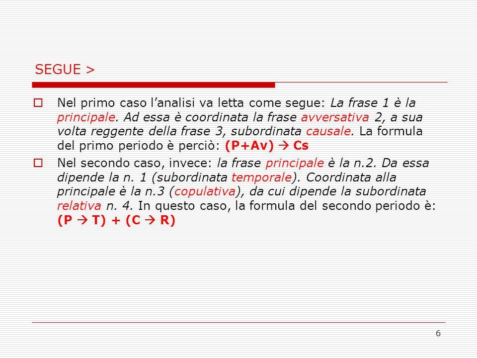 6 SEGUE > Nel primo caso lanalisi va letta come segue: La frase 1 è la principale. Ad essa è coordinata la frase avversativa 2, a sua volta reggente d