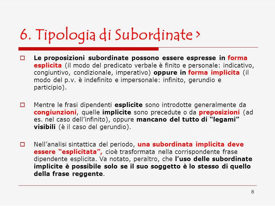 8 6. Tipologia di Subordinate > Le proposizioni subordinate possono essere espresse in forma esplicita (il modo del predicato verbale è finito e perso