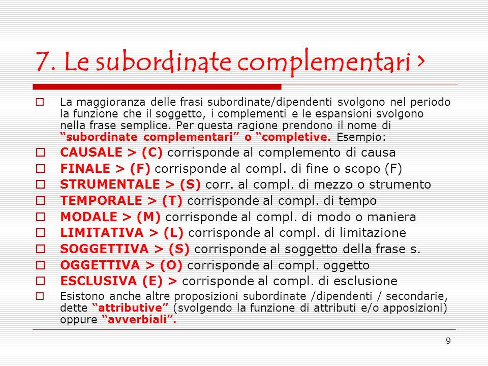 9 7. Le subordinate complementari > La maggioranza delle frasi subordinate/dipendenti svolgono nel periodo la funzione che il soggetto, i complementi