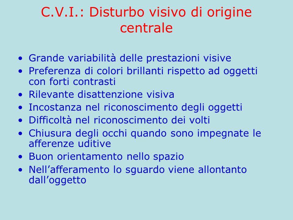 C.V.I.: Disturbo visivo di origine centrale Grande variabilità delle prestazioni visive Preferenza di colori brillanti rispetto ad oggetti con forti c