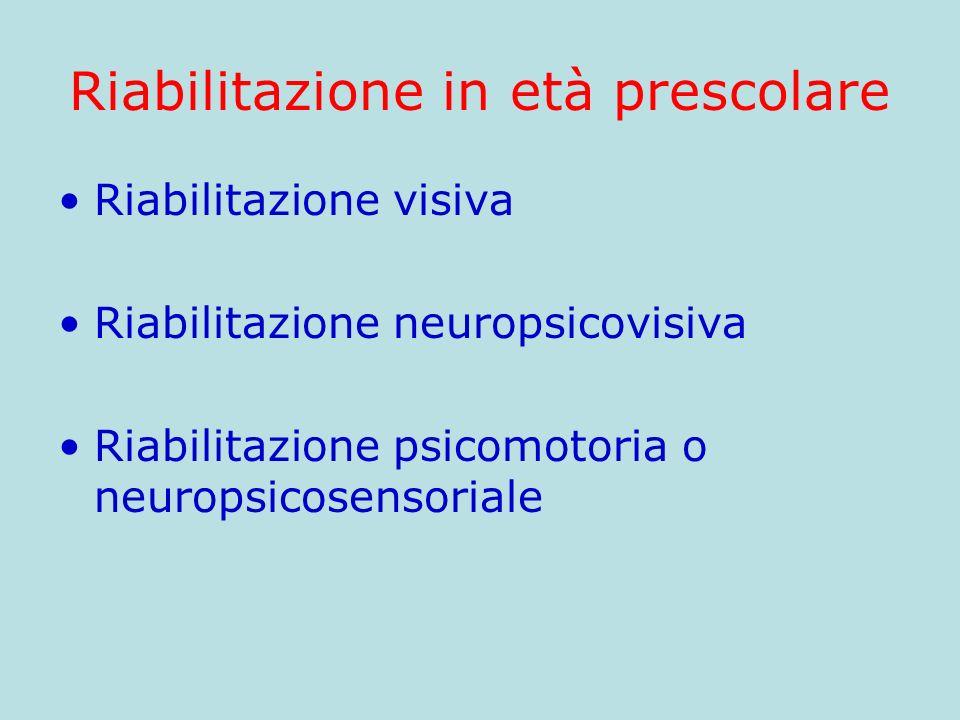 Riabilitazione in età prescolare Riabilitazione visiva Riabilitazione neuropsicovisiva Riabilitazione psicomotoria o neuropsicosensoriale