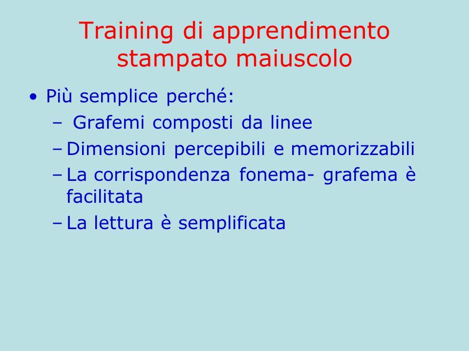 Training di apprendimento stampato maiuscolo Più semplice perché: – Grafemi composti da linee –Dimensioni percepibili e memorizzabili –La corrisponden