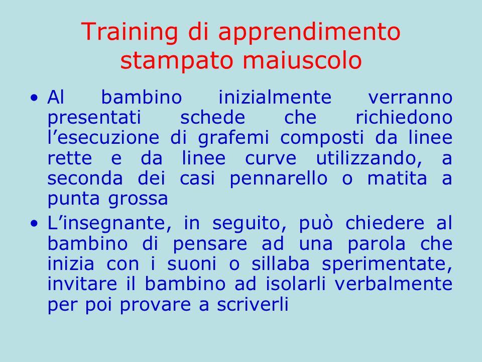 Training di apprendimento stampato maiuscolo Al bambino inizialmente verranno presentati schede che richiedono lesecuzione di grafemi composti da line