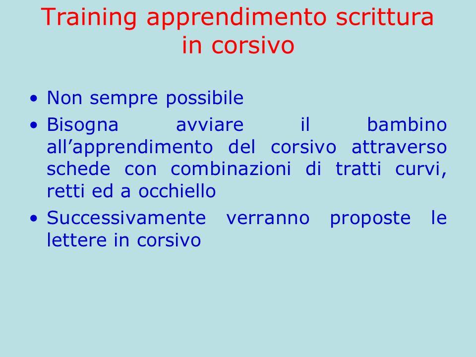 Training apprendimento scrittura in corsivo Non sempre possibile Bisogna avviare il bambino allapprendimento del corsivo attraverso schede con combina