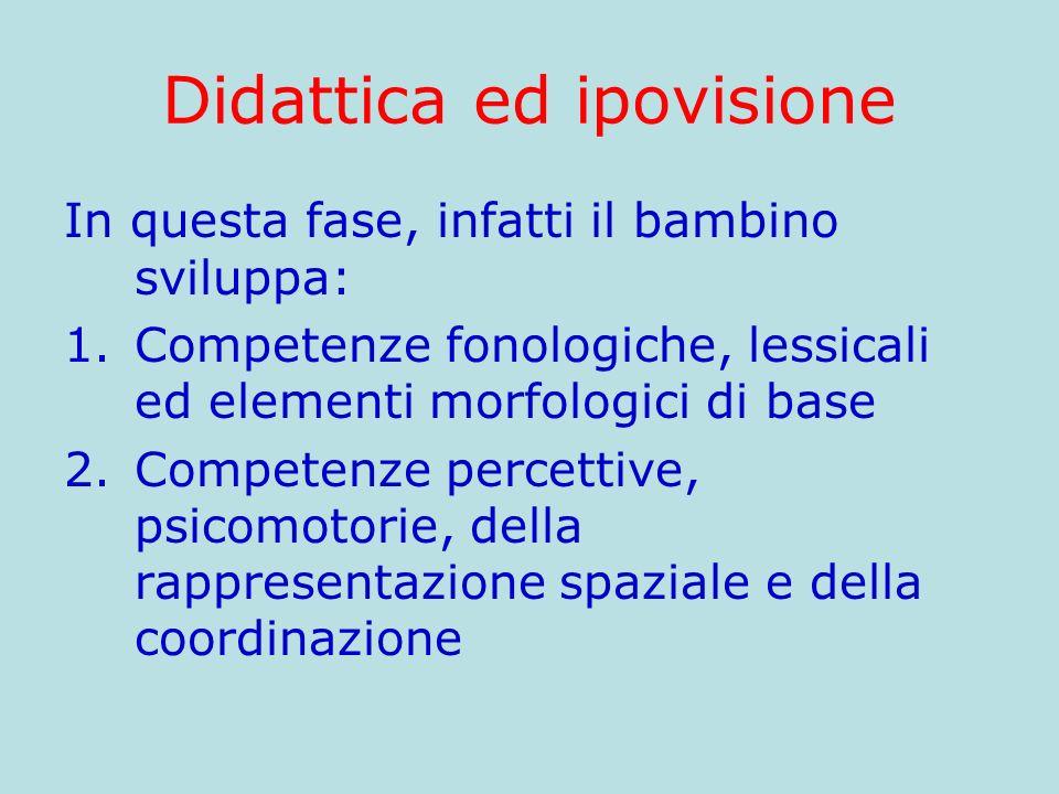 Didattica ed ipovisione In questa fase, infatti il bambino sviluppa: 1.Competenze fonologiche, lessicali ed elementi morfologici di base 2.Competenze