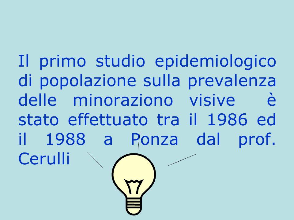 Il primo studio epidemiologico di popolazione sulla prevalenza delle minoraziono visive è stato effettuato tra il 1986 ed il 1988 a Ponza dal prof. Ce