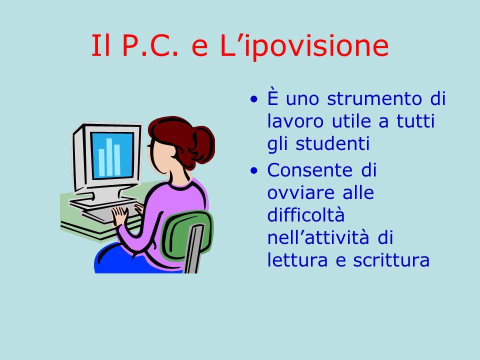 Il P.C. e Lipovisione È uno strumento di lavoro utile a tutti gli studenti Consente di ovviare alle difficoltà nellattività di lettura e scrittura