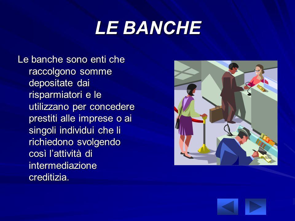 LE BANCHE Le banche sono enti che raccolgono somme depositate dai risparmiatori e le utilizzano per concedere prestiti alle imprese o ai singoli individui che li richiedono svolgendo così lattività di intermediazione creditizia.