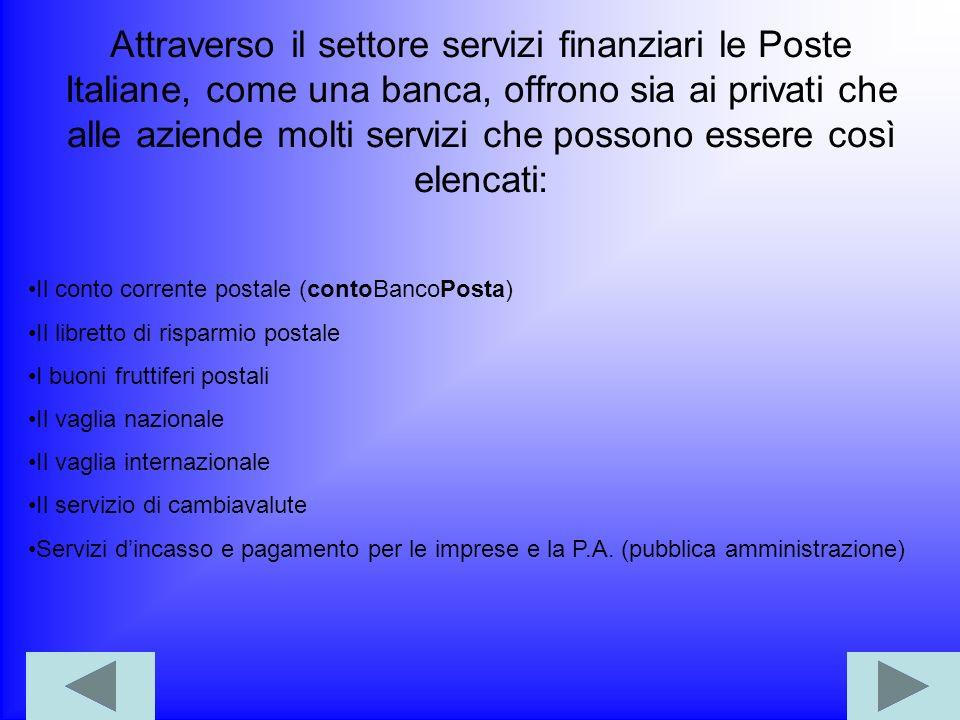 LE POSTE ITALIANE OPERANO IN DUE GRANDI SETTORI Settore servizi postali Settore servizi finanziari