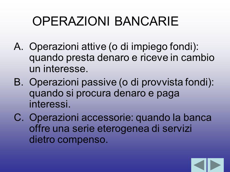 A.Operazioni attive (o di impiego fondi): quando presta denaro e riceve in cambio un interesse.