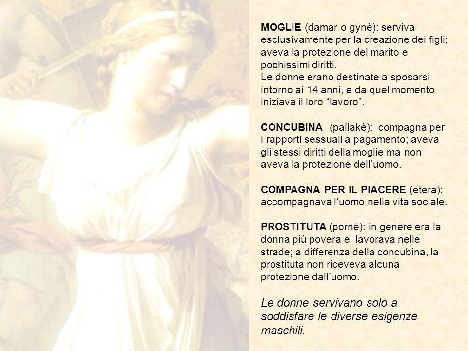 MOGLIE (damar o gynè): serviva esclusivamente per la creazione dei figli; aveva la protezione del marito e pochissimi diritti. Le donne erano destinat