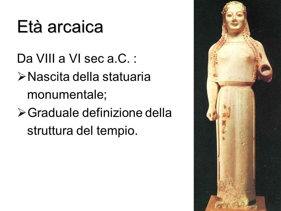 Età arcaica Da VIII a VI sec a.C.
