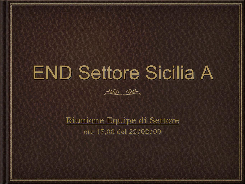 END Settore Sicilia A Riunione Equipe di Settore ore 17,00 del 22/02/09 Riunione Equipe di Settore ore 17,00 del 22/02/09