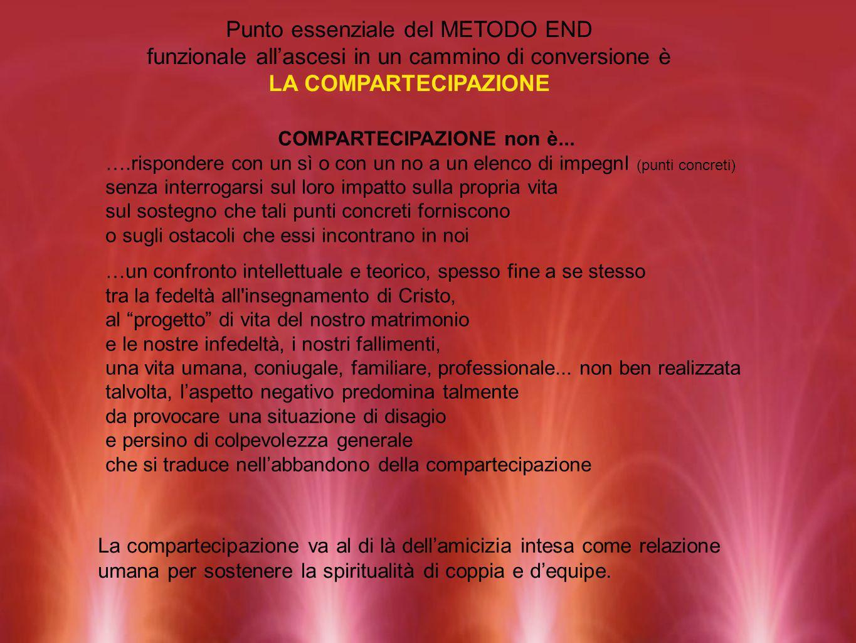 Punto essenziale del METODO END funzionale allascesi in un cammino di conversione è LA COMPARTECIPAZIONE COMPARTECIPAZIONE non è... ….rispondere con u