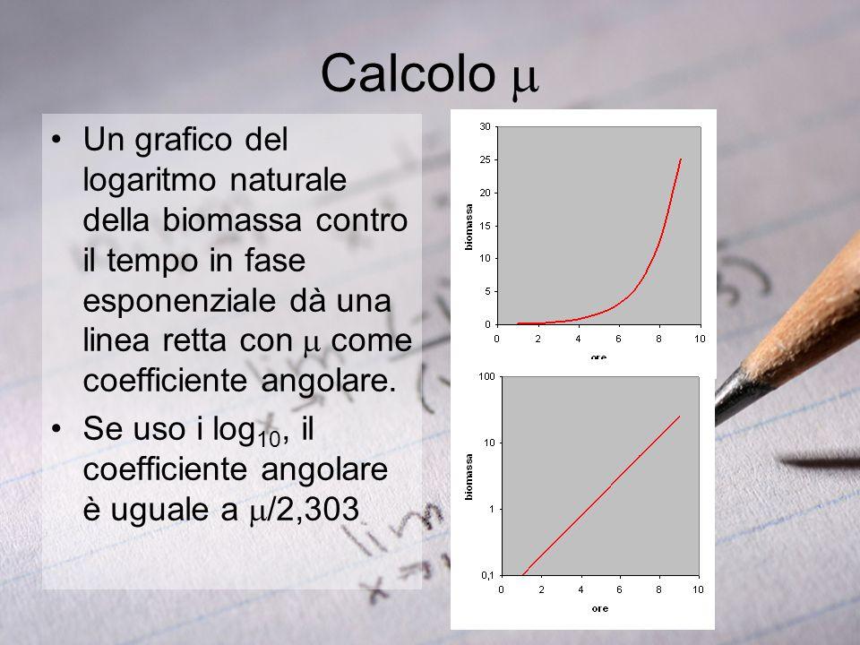 Calcolo Un grafico del logaritmo naturale della biomassa contro il tempo in fase esponenziale dà una linea retta con come coefficiente angolare. Se us