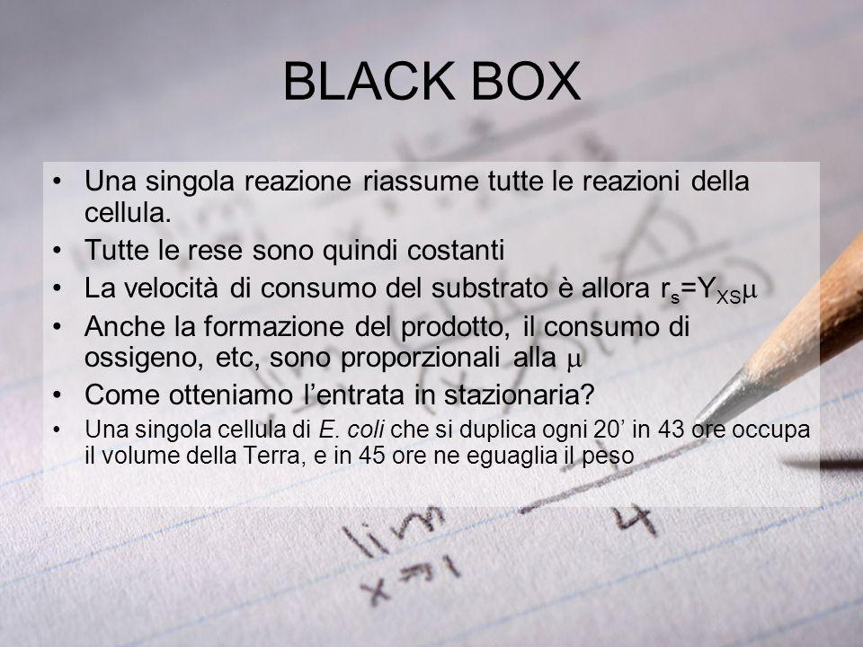 BLACK BOX Una singola reazione riassume tutte le reazioni della cellula. Tutte le rese sono quindi costanti La velocità di consumo del substrato è all