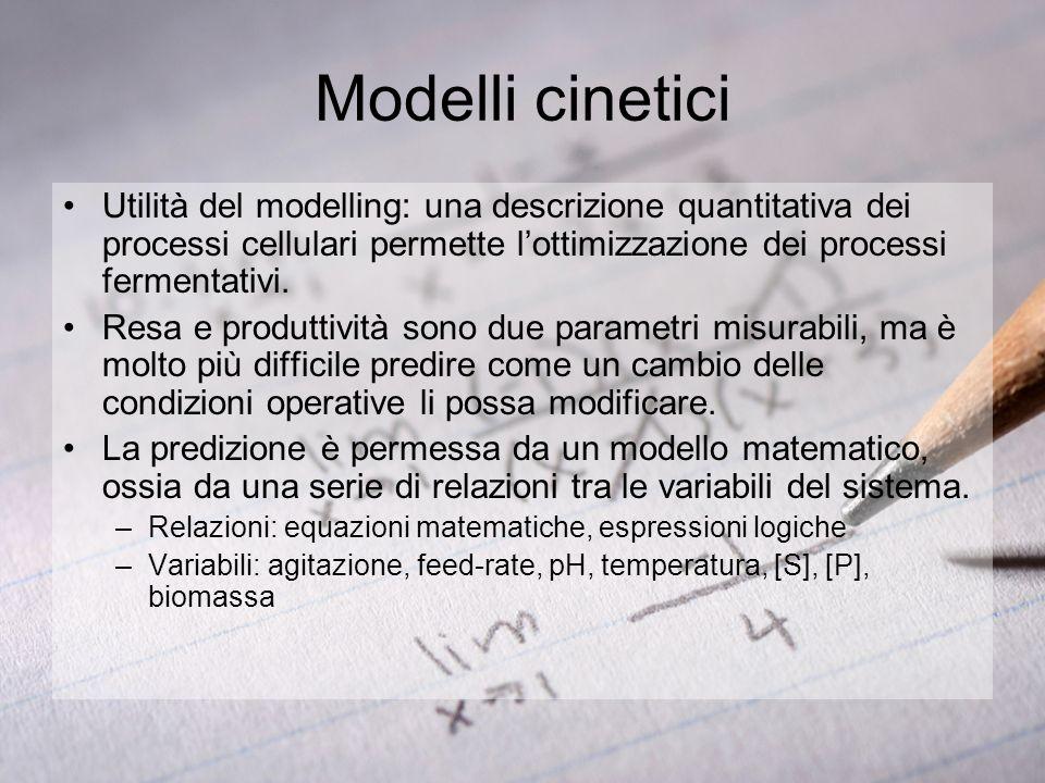 Modelli cinetici Utilità del modelling: una descrizione quantitativa dei processi cellulari permette lottimizzazione dei processi fermentativi. Resa e
