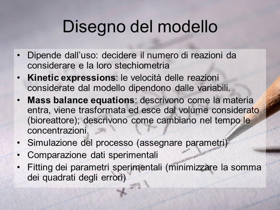 Disegno del modello Dipende dalluso: decidere il numero di reazioni da considerare e la loro stechiometria Kinetic expressions: le velocità delle reaz