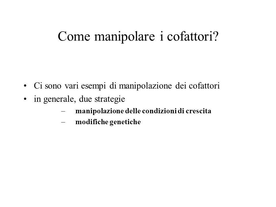 Come manipolare i cofattori? Ci sono vari esempi di manipolazione dei cofattori in generale, due strategie –manipolazione delle condizioni di crescita