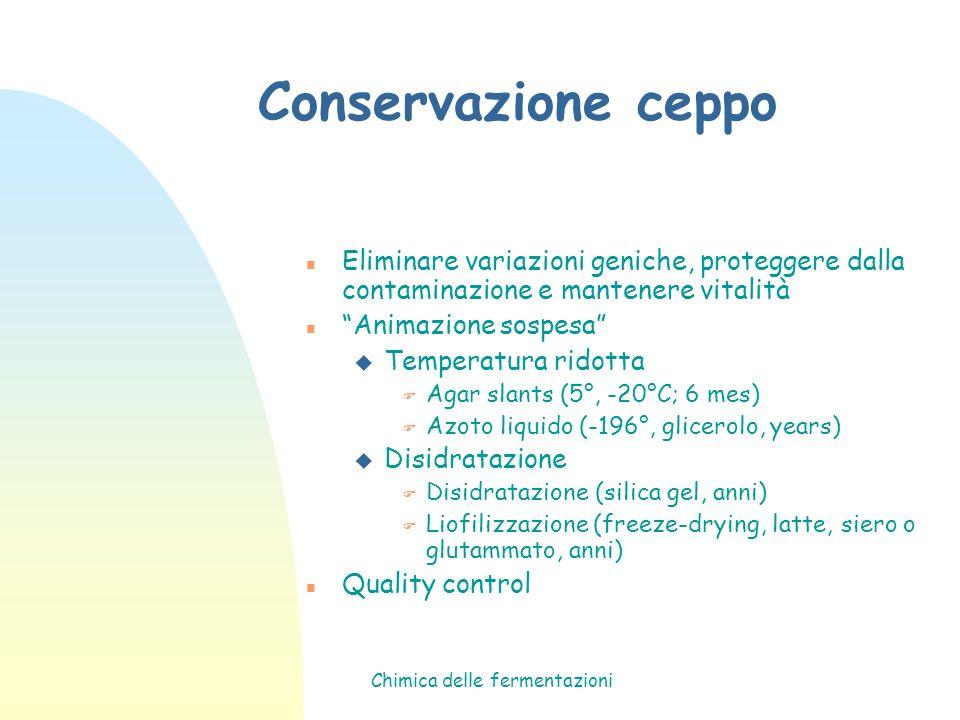 Chimica delle fermentazioni Conservazione ceppo n Eliminare variazioni geniche, proteggere dalla contaminazione e mantenere vitalità n Animazione sosp