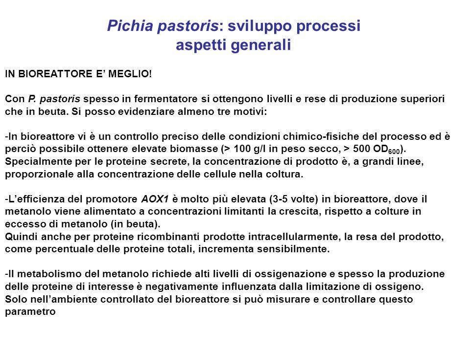 Pichia pastoris: sviluppo processi aspetti generali IN BIOREATTORE E MEGLIO! Con P. pastoris spesso in fermentatore si ottengono livelli e rese di pro