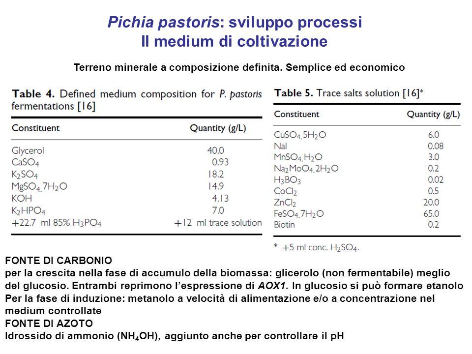 Pichia pastoris: sviluppo processi Il medium di coltivazione Terreno minerale a composizione definita. Semplice ed economico FONTE DI CARBONIO per la
