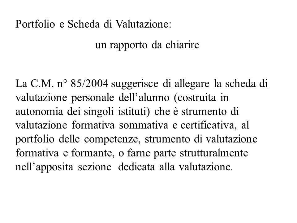 Portfolio e Scheda di Valutazione: un rapporto da chiarire La C.M. n° 85/2004 suggerisce di allegare la scheda di valutazione personale dellalunno (co
