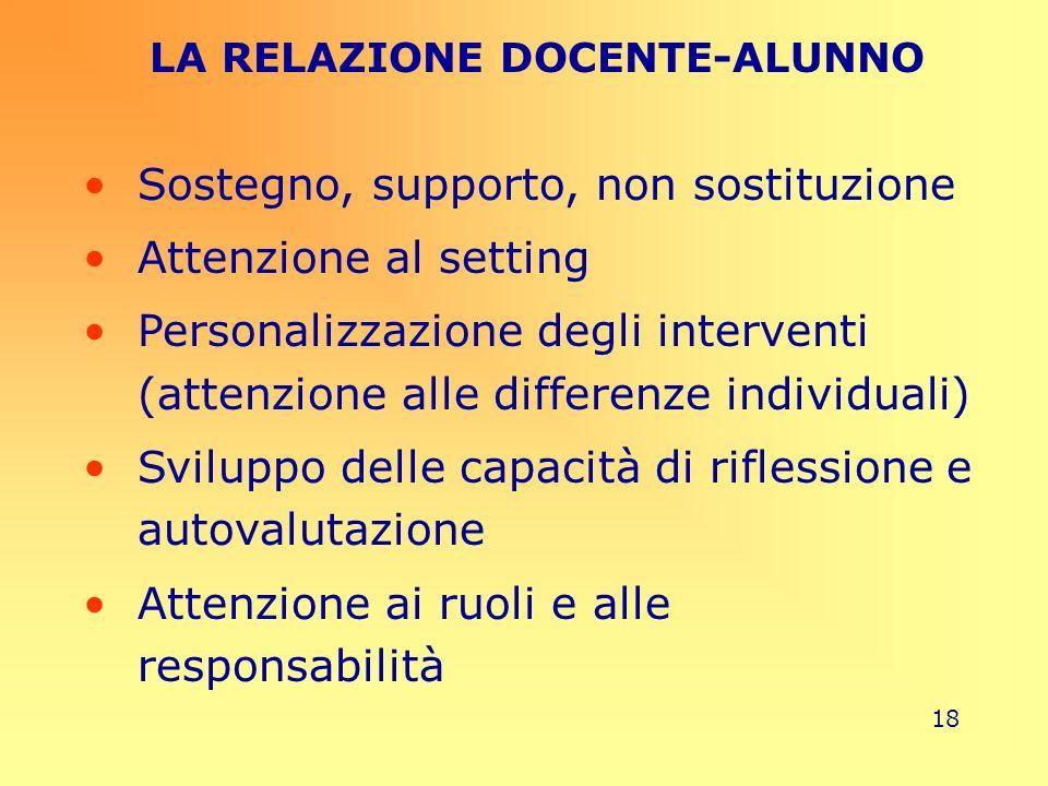 18 LA RELAZIONE DOCENTE-ALUNNO Sostegno, supporto, non sostituzione Attenzione al setting Personalizzazione degli interventi (attenzione alle differen