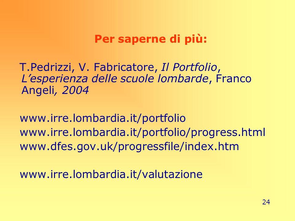 24 Per saperne di più: T.Pedrizzi, V. Fabricatore, Il Portfolio, Lesperienza delle scuole lombarde, Franco Angeli, 2004 www.irre.lombardia.it/portfoli