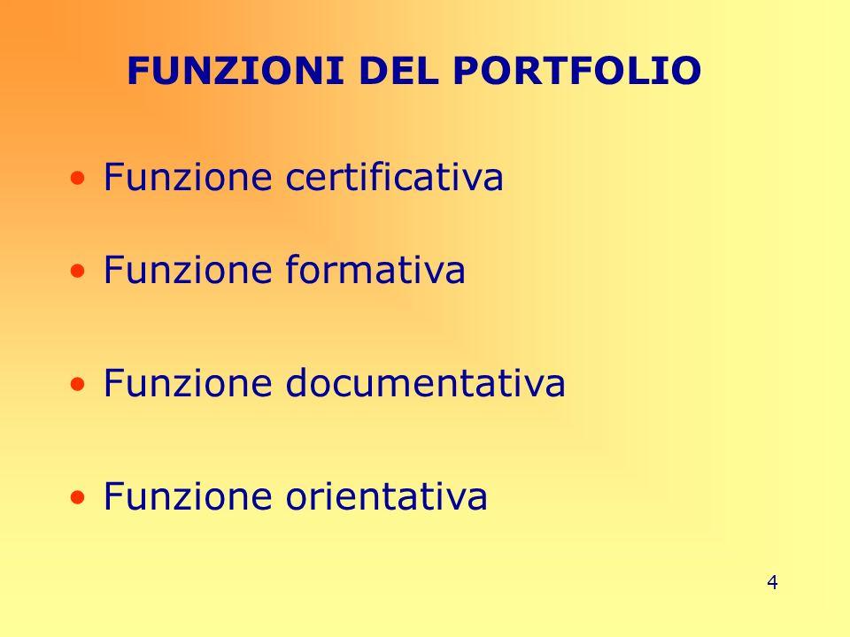 4 FUNZIONI DEL PORTFOLIO Funzione certificativa Funzione formativa Funzione documentativa Funzione orientativa