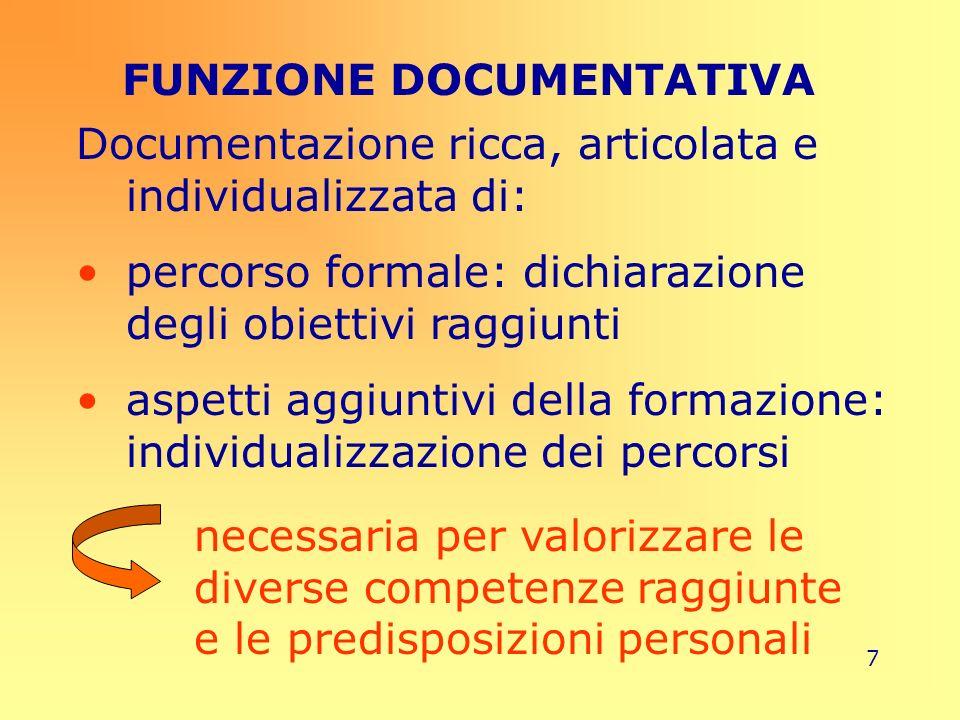 7 FUNZIONE DOCUMENTATIVA Documentazione ricca, articolata e individualizzata di: percorso formale: dichiarazione degli obiettivi raggiunti aspetti agg