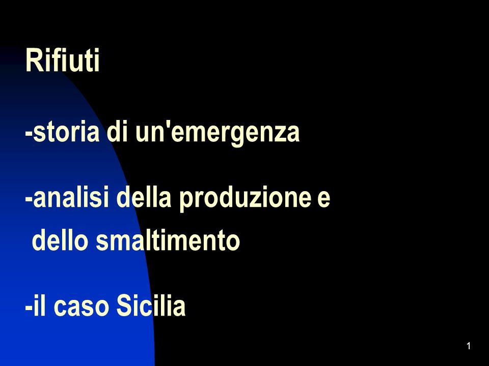 1 Rifiuti -storia di un'emergenza -analisi della produzione e dello smaltimento -il caso Sicilia