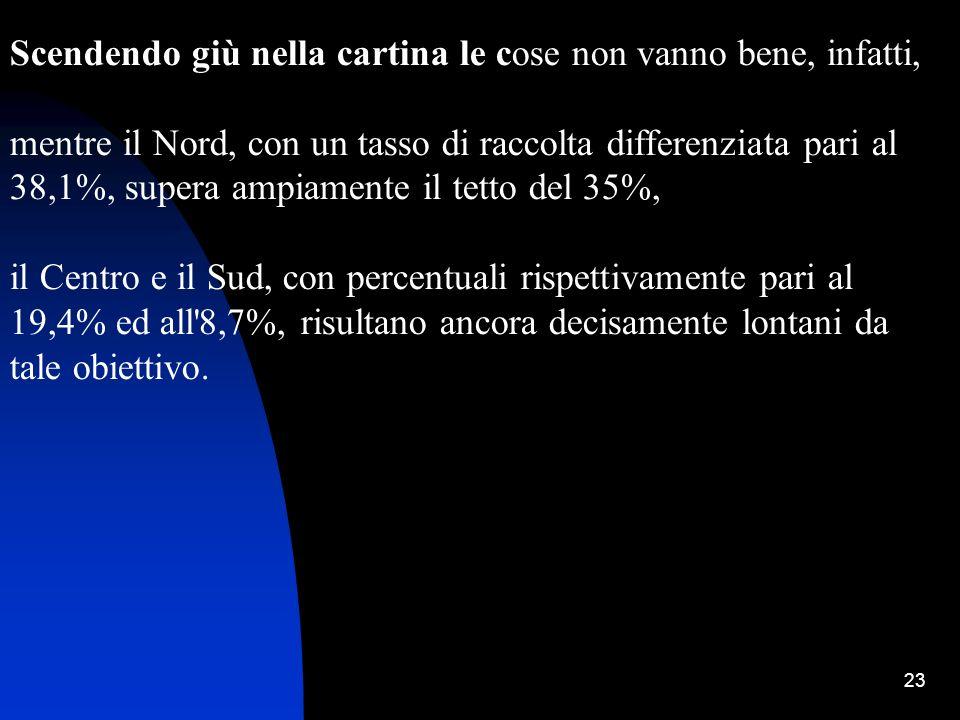 23 Scendendo giù nella cartina le cose non vanno bene, infatti, mentre il Nord, con un tasso di raccolta differenziata pari al 38,1%, supera ampiament