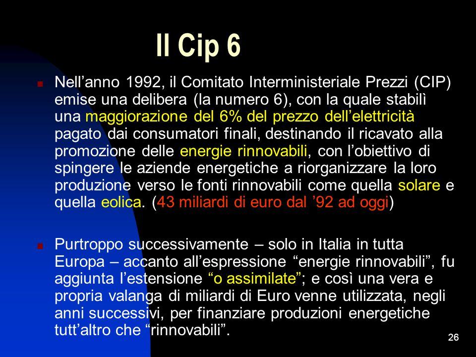 26 Il Cip 6 Nellanno 1992, il Comitato Interministeriale Prezzi (CIP) emise una delibera (la numero 6), con la quale stabilì una maggiorazione del 6%