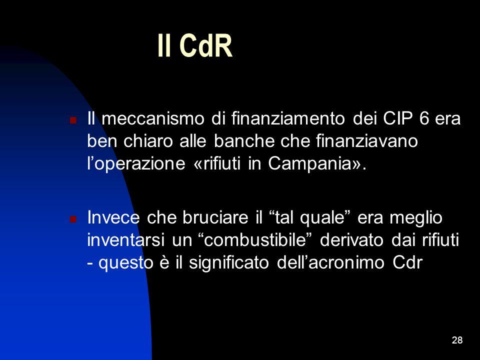 28 Il CdR Il meccanismo di finanziamento dei CIP 6 era ben chiaro alle banche che finanziavano loperazione «rifiuti in Campania». Invece che bruciare