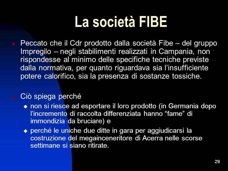 29 La società FIBE Peccato che il Cdr prodotto dalla società Fibe – del gruppo Impregilo – negli stabilimenti realizzati in Campania, non rispondesse