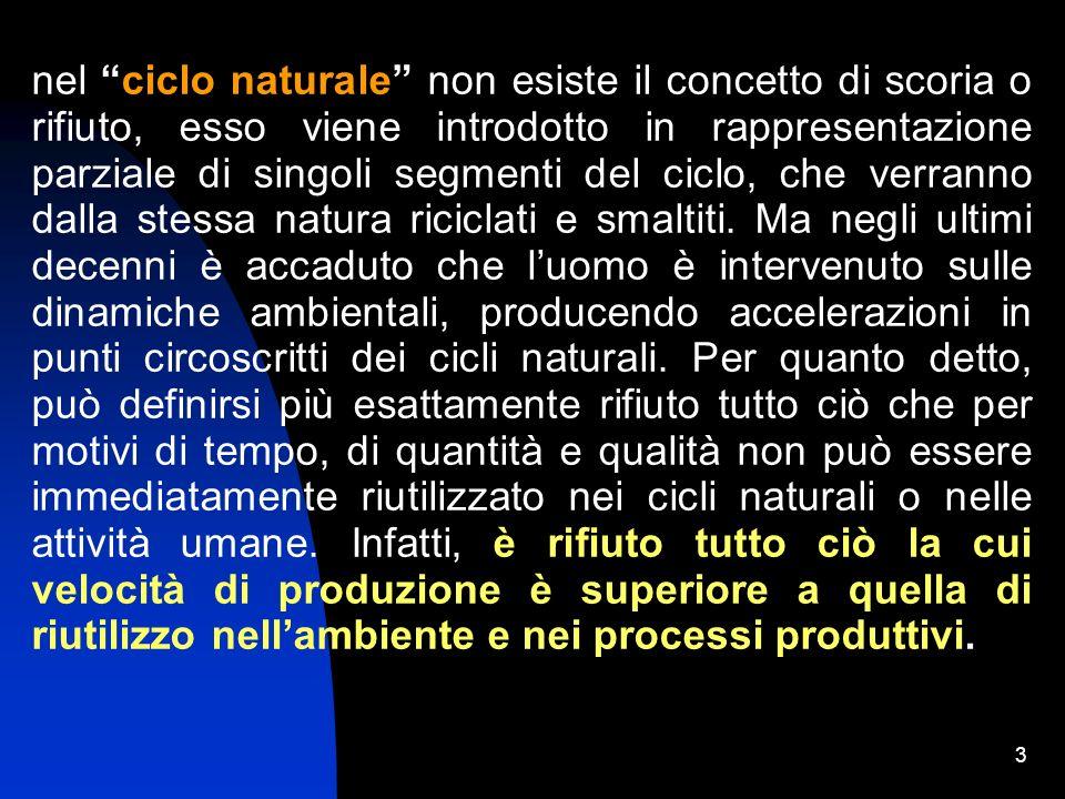 3 nel ciclo naturale non esiste il concetto di scoria o rifiuto, esso viene introdotto in rappresentazione parziale di singoli segmenti del ciclo, che