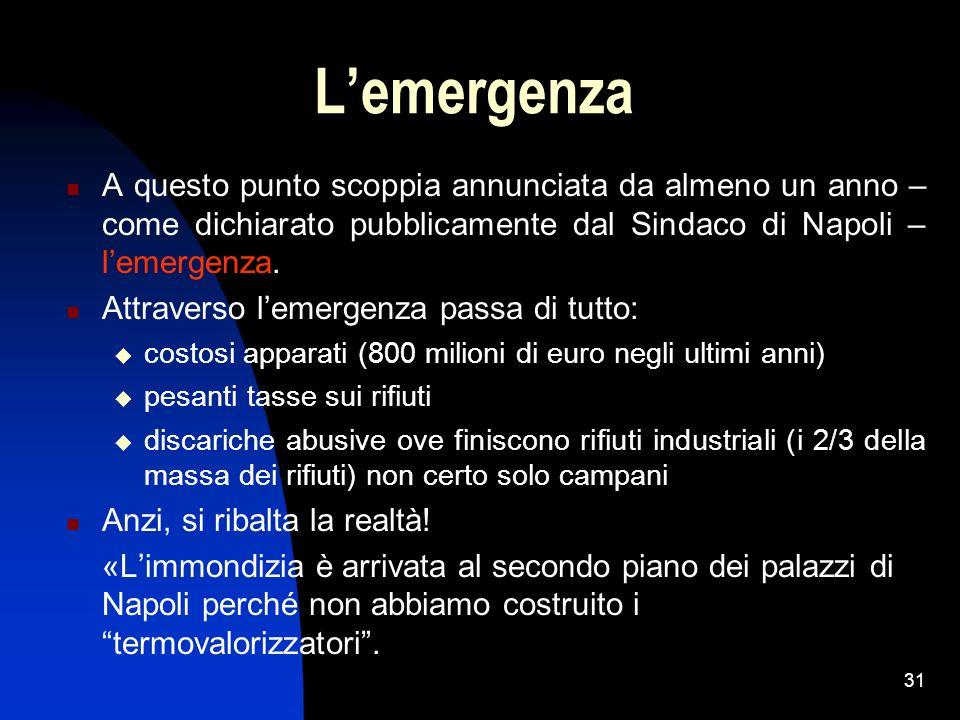 31 Lemergenza A questo punto scoppia annunciata da almeno un anno – come dichiarato pubblicamente dal Sindaco di Napoli – lemergenza. Attraverso lemer