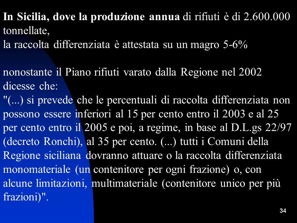 34 In Sicilia, dove la produzione annua di rifiuti è di 2.600.000 tonnellate, la raccolta differenziata è attestata su un magro 5-6% nonostante il Pia
