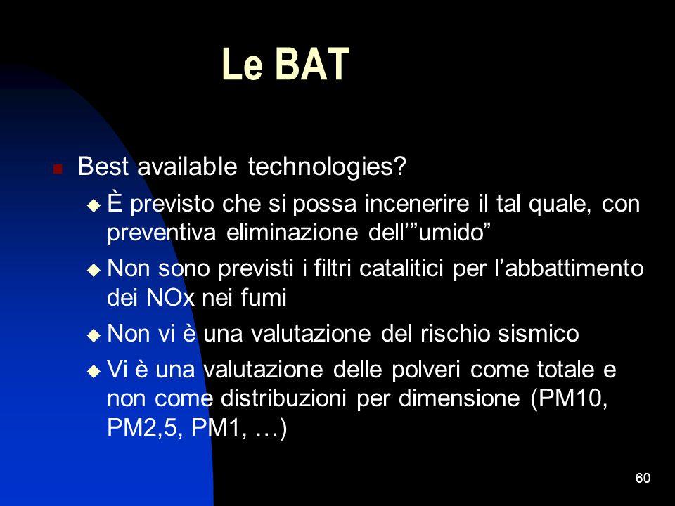 60 Le BAT Best available technologies? È previsto che si possa incenerire il tal quale, con preventiva eliminazione dellumido Non sono previsti i filt