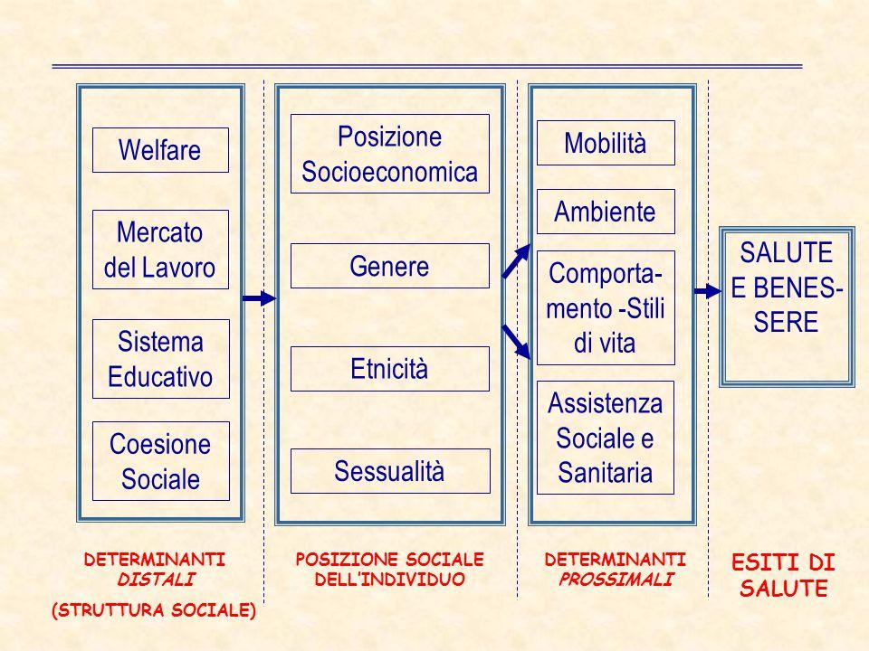 Mercato del Lavoro Sistema Educativo Posizione Socioeconomica Genere Etnicità Sessualità Ambiente Comporta- mento -Stili di vita Assistenza Sociale e Sanitaria SALUTE E BENES- SERE DETERMINANTI DISTALI (STRUTTURA SOCIALE) POSIZIONE SOCIALE DELLINDIVIDUO DETERMINANTI PROSSIMALI ESITI DI SALUTE Coesione Sociale Welfare Mobilità