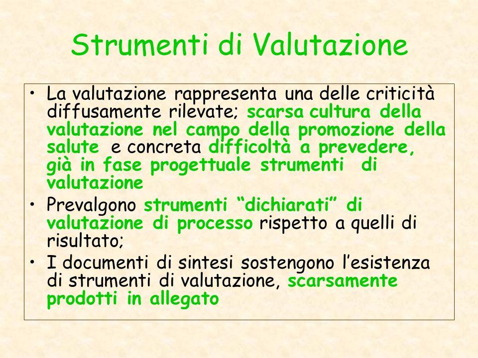 Strumenti di Valutazione La valutazione rappresenta una delle criticità diffusamente rilevate; scarsa cultura della valutazione nel campo della promoz