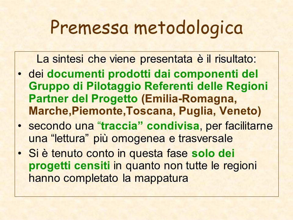 Premessa metodologica La sintesi che viene presentata è il risultato: dei documenti prodotti dai componenti del Gruppo di Pilotaggio Referenti delle R