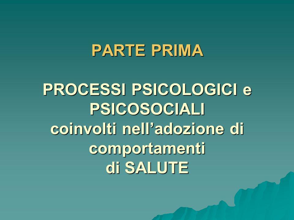 PARTE PRIMA PROCESSI PSICOLOGICI E PSICOSOCIALI coinvolti nelladozione di comportamenti salutari PROCESSI PSICOLOGICI E PSICOSOCIALI coinvolti nellado