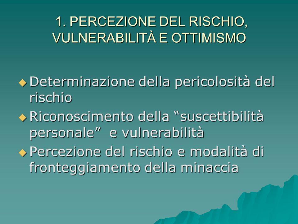 1. PERCEZIONE DEL RISCHIO, VULNERABILITÀ E OTTIMISMO Rischio: concetto polisemico, non solo fattore oggettivo, ma anche soggettivo Rischio: concetto p