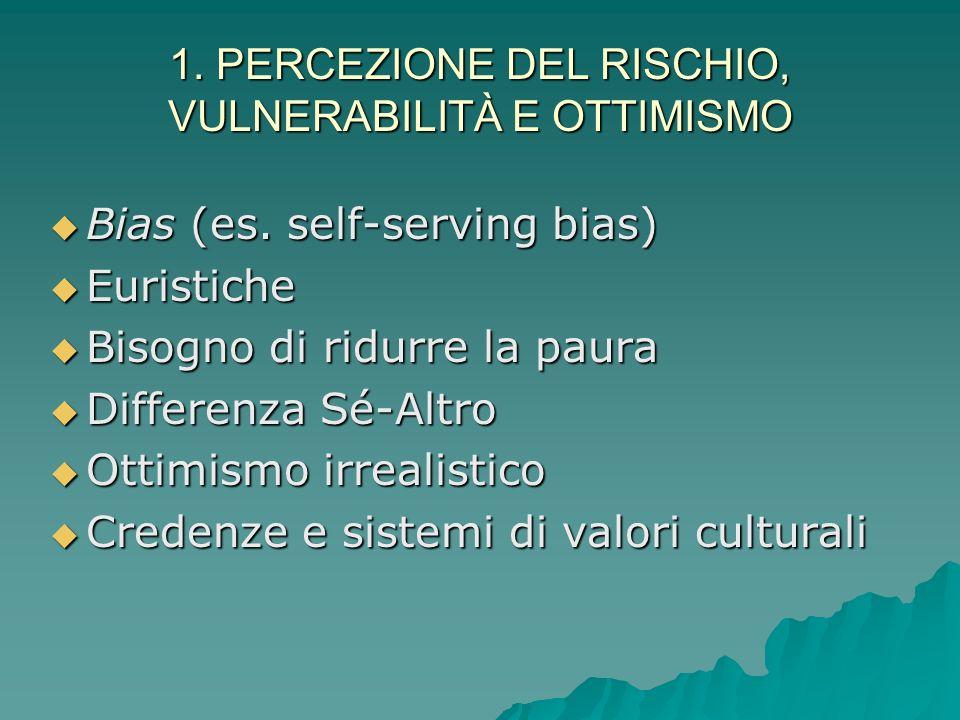 1. PERCEZIONE DEL RISCHIO, VULNERABILITÀ E OTTIMISMO 1. PERCEZIONE DEL RISCHIO, VULNERABILITÀ E OTTIMISMO Determinazione della pericolosità del rischi
