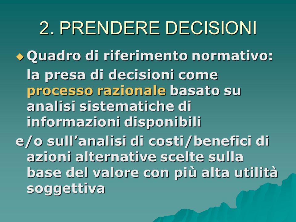 2. Elementi del processo di decision making Due assi: percezione del proprio stato di salute (benessere vs. malessere) percezione del proprio stato di